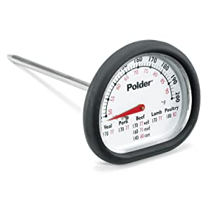 Polder 12454 Deluxe In-Oven Thermometer, Stainless Steel with Easy-to-Read Face and High-Heat Grip