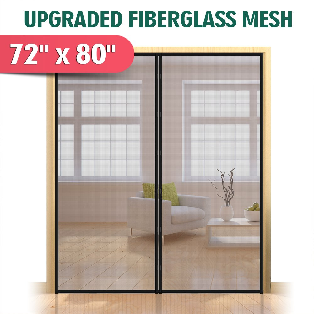 Upgraded 72''x80'' Magnetic Screen Door for French Door, Durable Fiberglass Double Door Screen Mesh Curtain Fits Door Opening up to 70''x79'' Keep Bugs Out