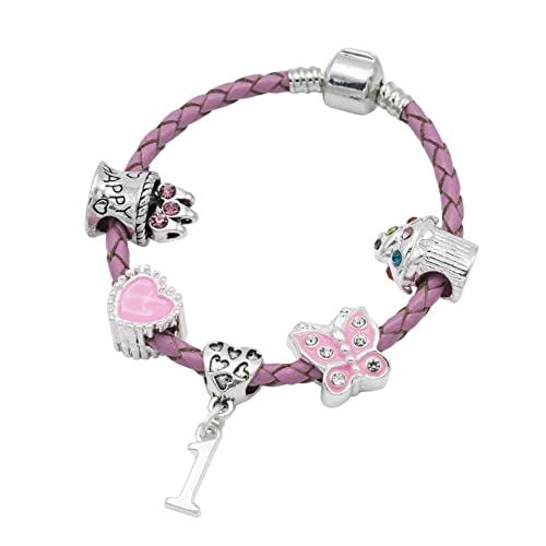 Childrens Pink Leather Happy 1st Birthday Charm Bracelet With Lovely Jewellery Hut Gift Pouch