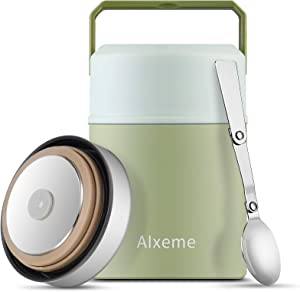 Soup Thermos Food Jar Alxeme Vacuum Insulated Lunch Container Wide Mouth Bento Box with Leak Proof Cap 27OZ Stainless Steel Hot Food Meal Carrier with Spoon & Handle for Kids/Adult Food Flask - Matcha