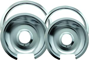 "Range Kleen Drip Pan & Trim Ring Chrome 1 Small/6"" Pan & Ring and 1 Large/8"" Pan & Ring - 4 Pack"