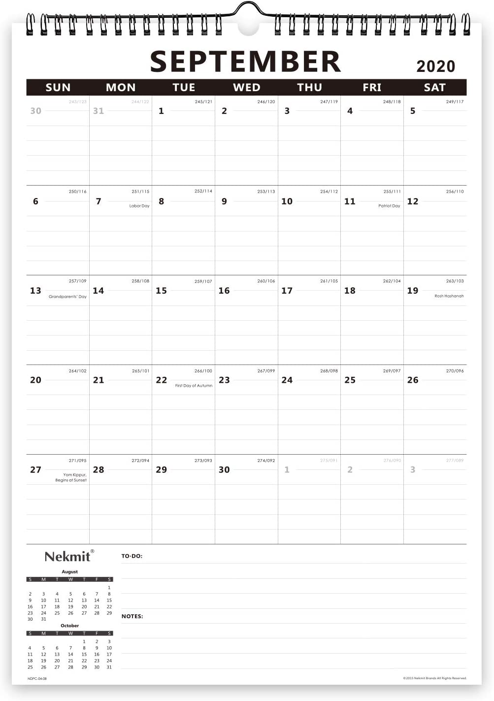 Nekmit 2020-2021 Academic Monthly Wall Calendar, Family Schedule Calendar for Home Schooling Plan, Ruled Blocks, 17 x 12, Black