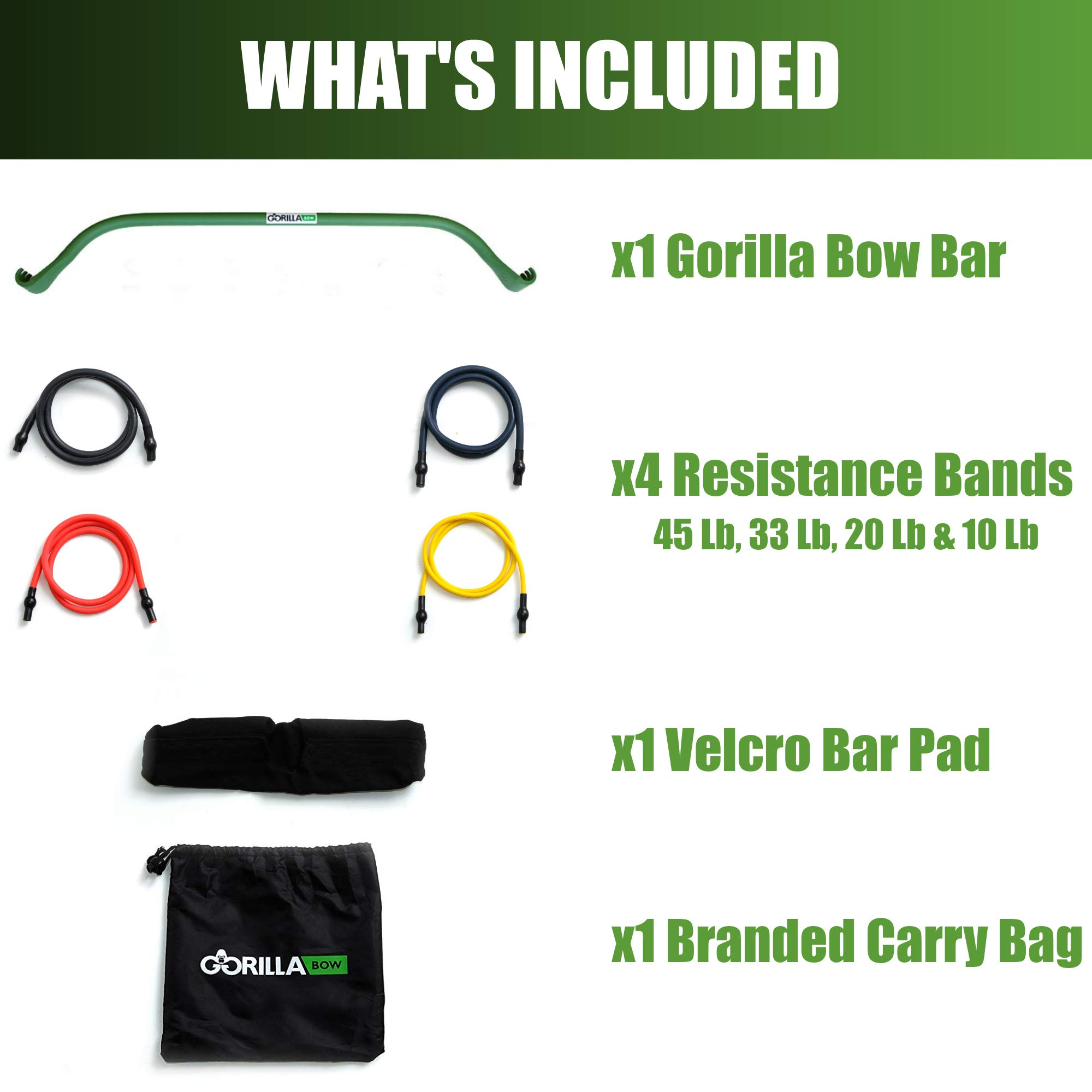 Gorilla Bow Portable Home Gym Resistance Band System | Weightlifting & HIIT Interval Training Kit | Full Body Workout Equipment (Green) by Gorilla Fitness (Image #3)