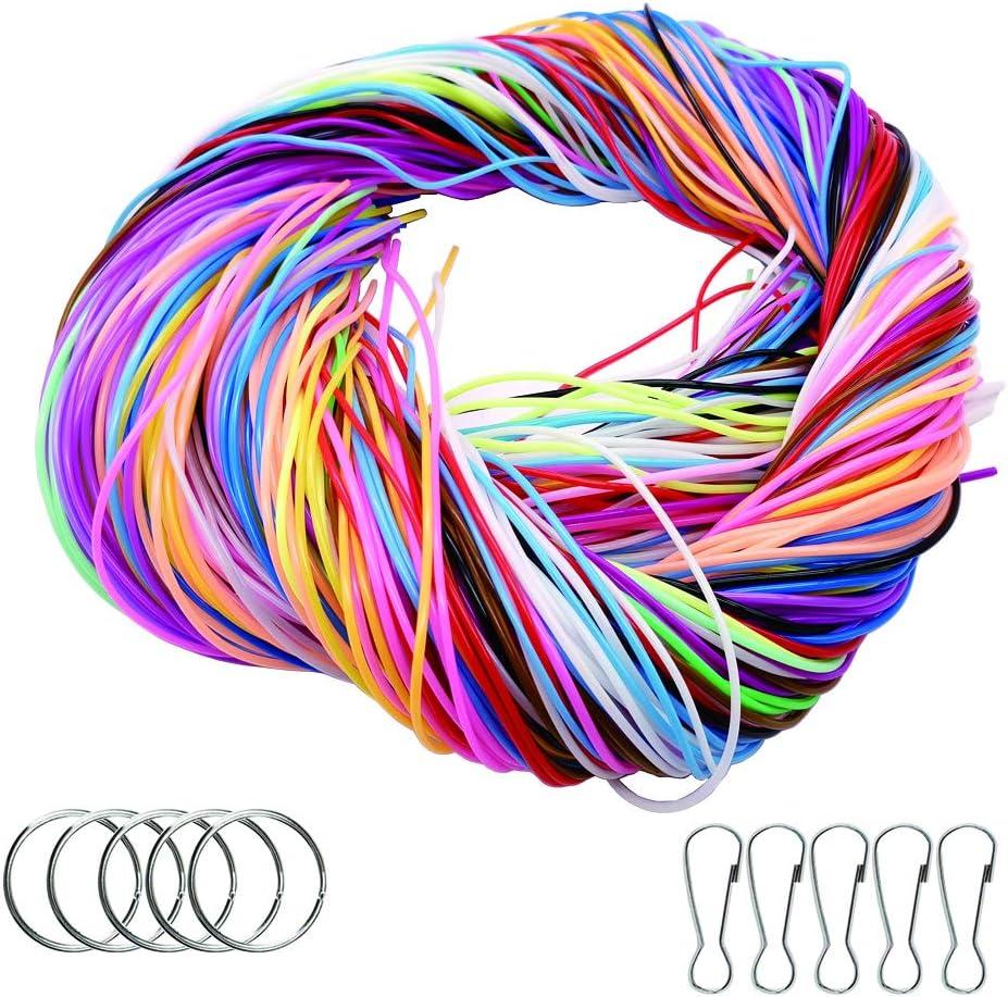 200 PCS Cuerda, Cordón Plástico,scoubidou String Craft Gimp String,para Pulseras Collar joyería Que Hace DIY artesanía, 20 Colores