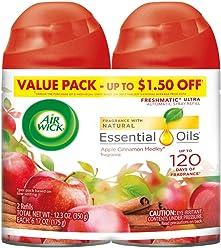 Air Wick Freshmatic 2 Refills Automatic Spray, Apple Cinnamon Medley, (2X6.17oz), Air Freshener
