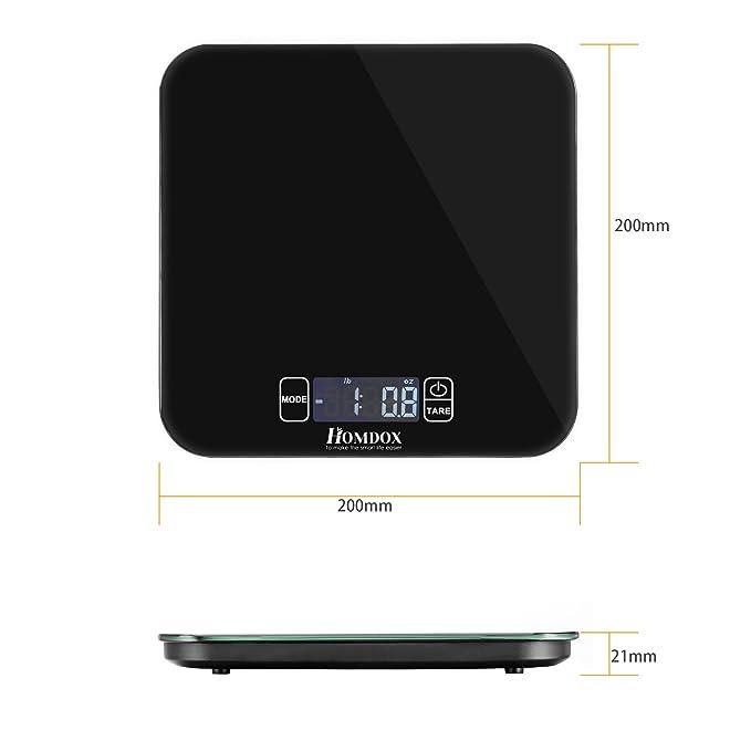 Homdox Bascula de Cocina Multiunidades de 1g a 15kg con Botón Táctil de Pantalla Digital Color Negro: Amazon.es: Hogar