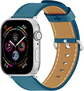 ARTCHE Compatible with iWatch Band 40mm 38mm, Genuine Leather Replacement Bands Watch Strap for Apple Watch Series SE 6 5 4 3 2 1, for Men and Women, Lake Blue
