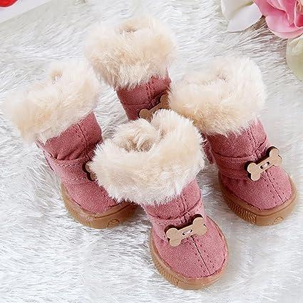 Botas de nieve para mascotas botas de nieve de invierno 4PCS botas antideslizantes Wind Velcro Oxford