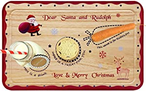 Santa Cookie Plate - Christmas Decorations for Kids - Xmas Eve Santa Treat Board Wooden Tray Plate Platter Mat