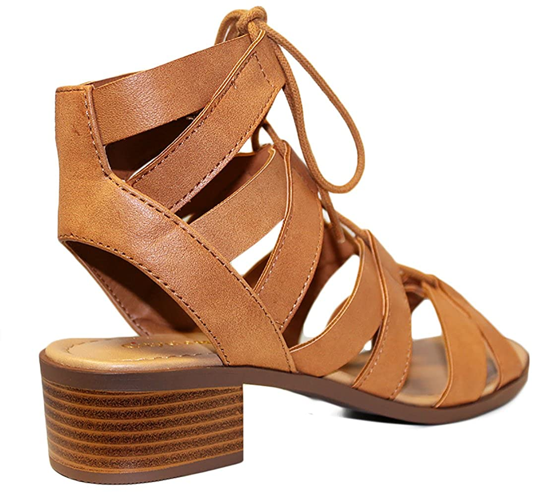 07857bd4b767c Amazon.com | City Classified Strappy Lace Up Womens Sandals MVE Shoes |  Sandals