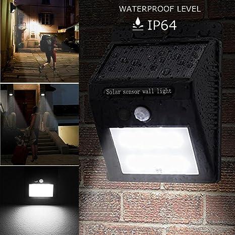 Foco Solar,Luces Solares 8 LED,STRIR 800mAh Lámparas Solares de Pared Impermeable,