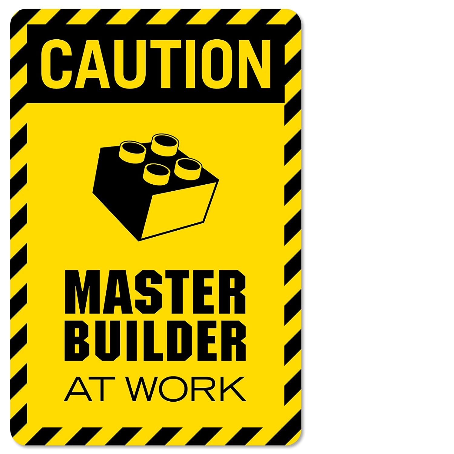 Caution Master Builder at Work Vinyl Decal Wall Decor Print for Lego Theme Rooms and brickbuilders p2320 (Small-7x10.5, DISP)