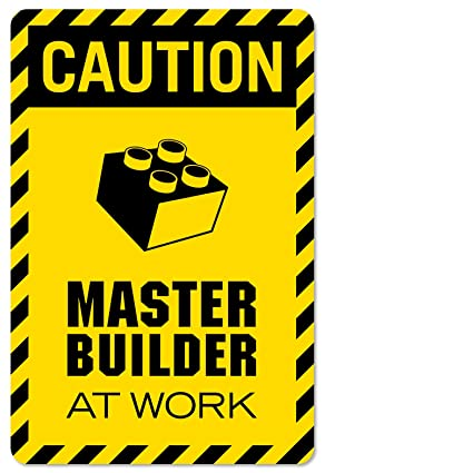 Caution master builder at work vinyl decal wall decor print for lego theme rooms and brickbuilders