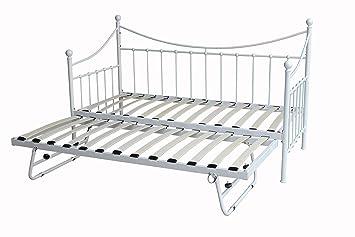 Neue DuraTribe Metall Bettgestell, Tagesbett Mit Unterbettkommode,  Ausziehbett + 2 Orthopädische Matratzen Reflex