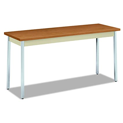 Amazoncom HON Utility Table With Putty And Chrome Leg Finish - Hon table legs