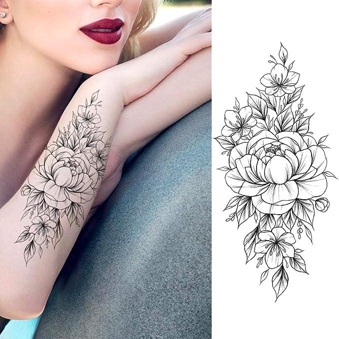 LAROI 8 Hojas Grande Rosa Tatuajes Temporales Flor Realista Peonía ...