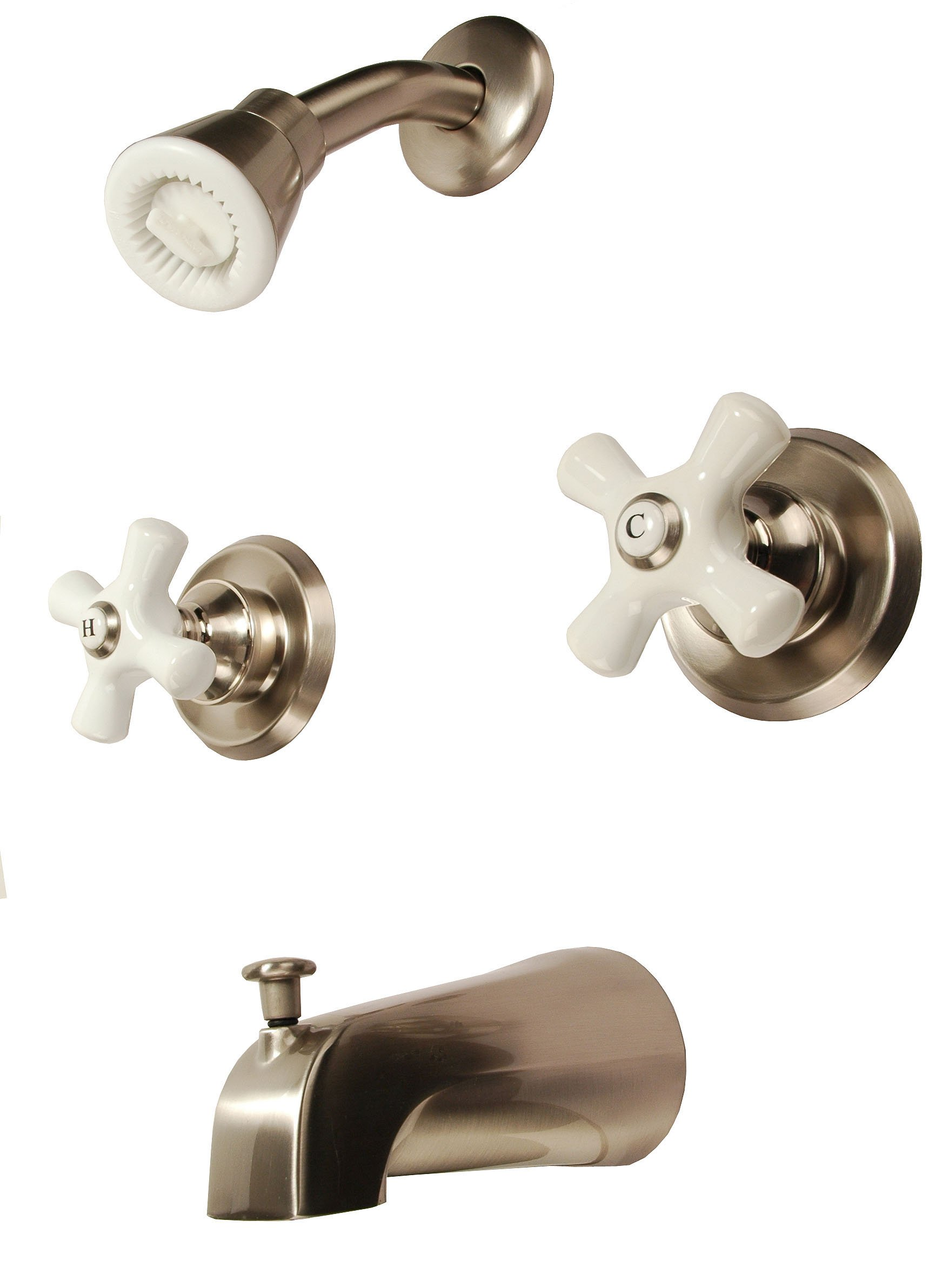 8'' Two-handle Tub and Shower Faucets, Satin Nickel Finish, Washerless, Porcelain Handle - Plumb USA 34582sn