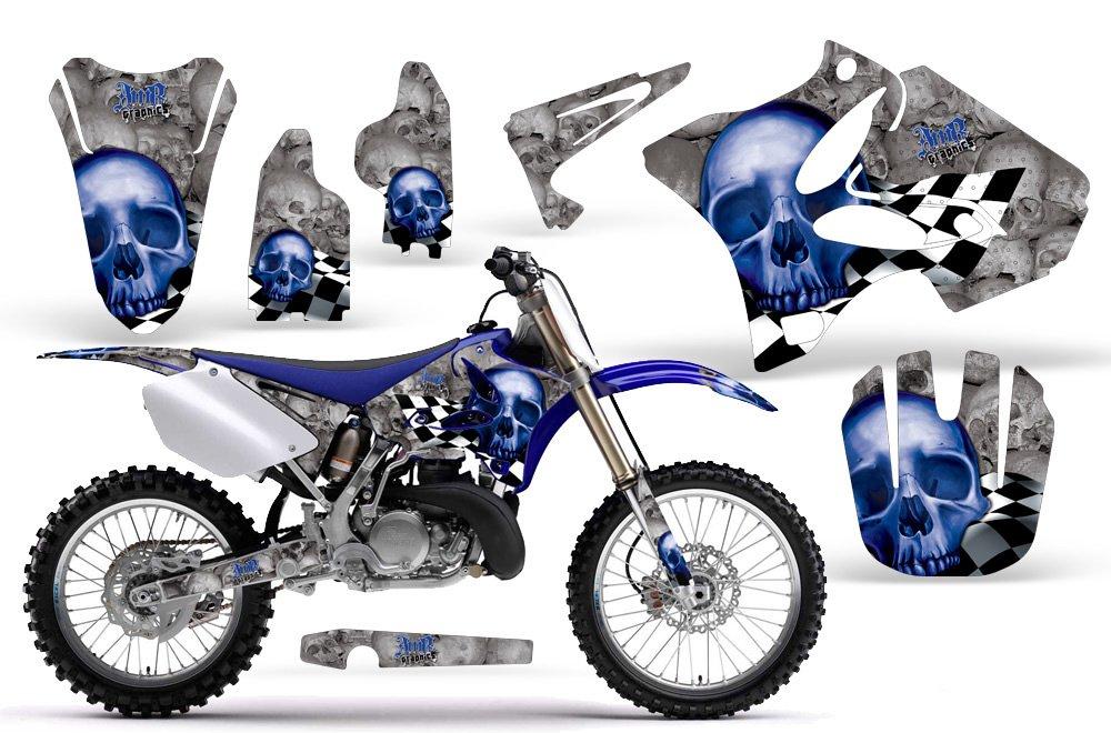 Checkered skull-amrracing MXグラフィックスデカールキットFitsヤマハyz 125 / 250 ( 2002 – 2013 ) -blue-white-bg   B00K1PQTM2