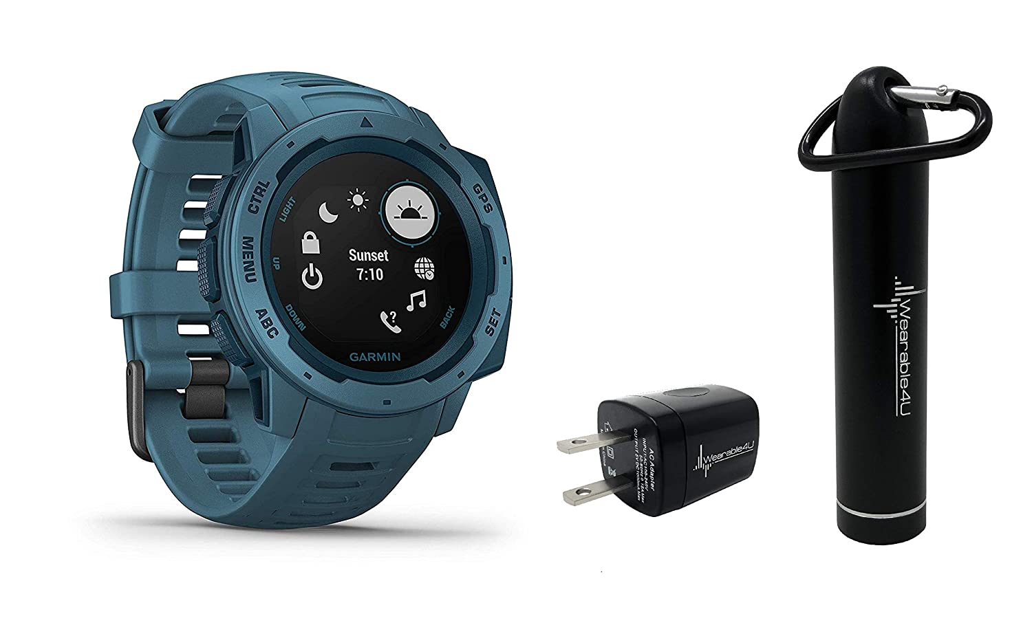 Garmin Instinct Rugged GPS Watch with Included Wearable4U Compact Power Pack Bundle Lakeside Blue