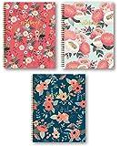 "Studio Oh! 3-Count Hardcover Spiral Notebook Assortment, 8.5"" x 11"", Secret Garden Bold Blossoms Trio"
