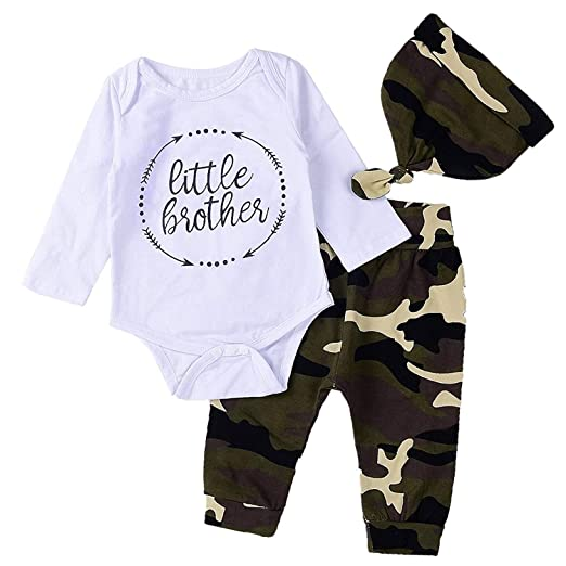 b5a8babebe09 Amazon.com  3PCs Set Baby Boys Little Brother Romper Camouflage Hat ...
