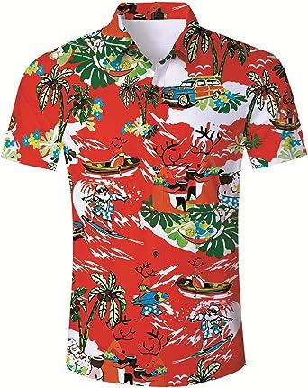 AIDEAONE Mens Holiday Hawaiian Shirt Button Down Beach Shirts Regular Fit