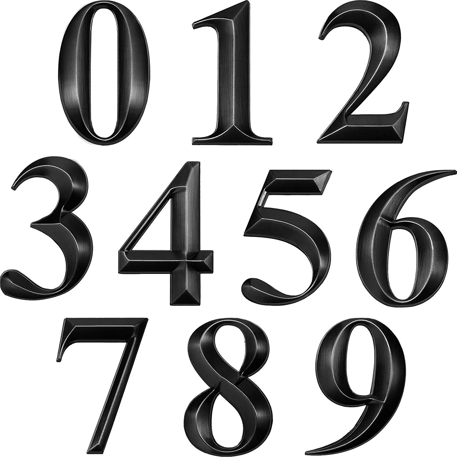 Mailbox Numbers Self-Adhesive Door House Numbers Address Numbers 3D Door Address Stickers Street Address Plaques Numbers Mailbox Signs for House, Apartment, Office 0 to 9 (10, Black)