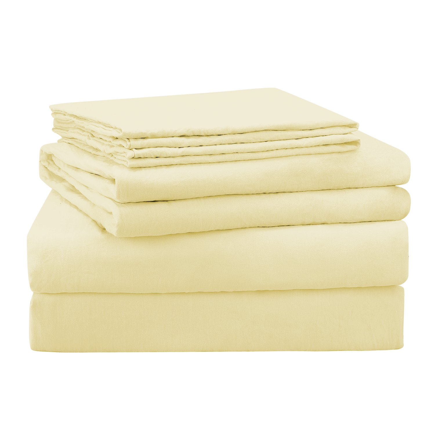 HOMEIDEAS 4 Piece Bed Sheets Set Full, Beige