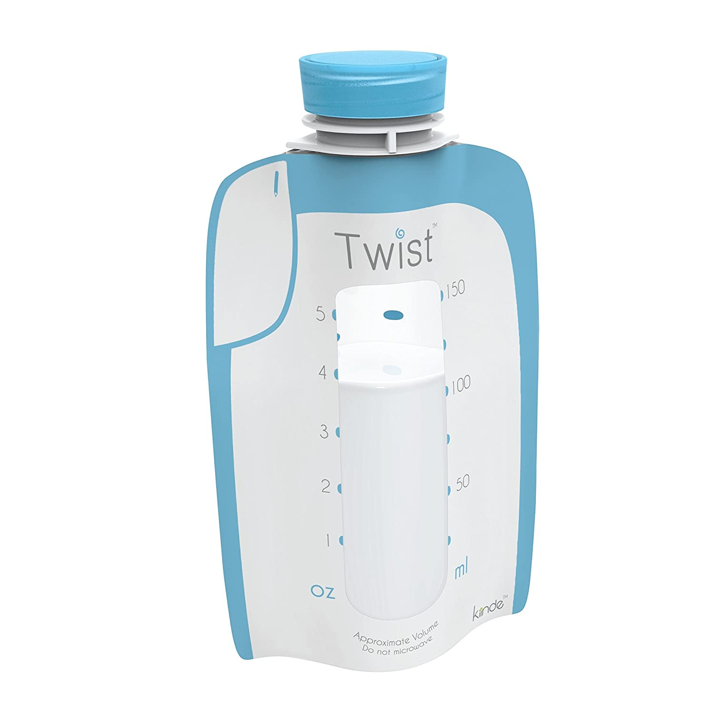 Twist Pouches - Direct-pump, Twist-cap Breastmilk Storage Bags (includes caps) (8 oz - 80 Pack) Kiinde
