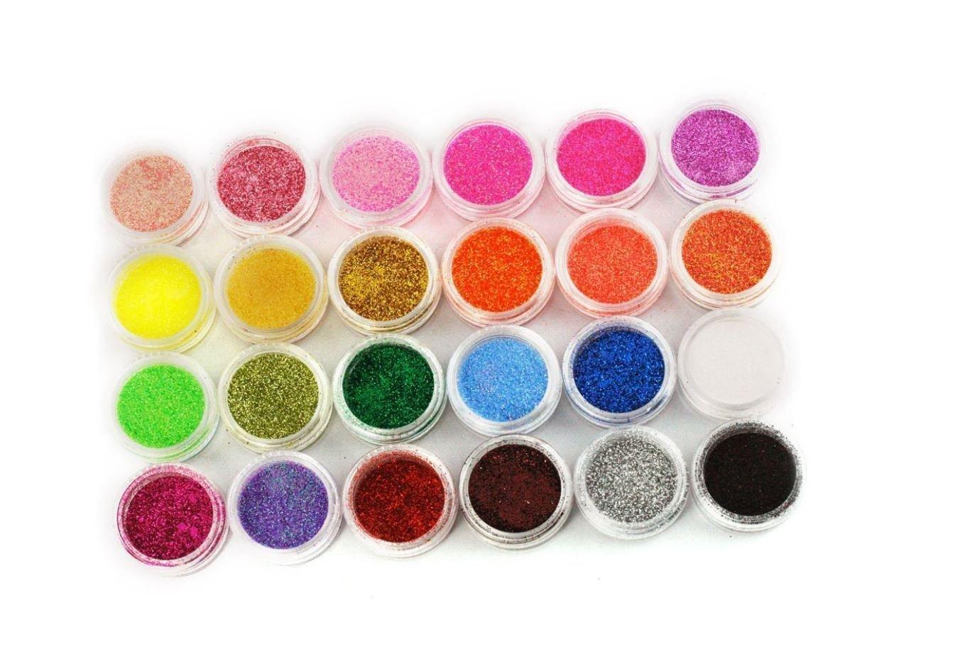 XI CHEN® 24 Color Nail Art Makeup Decoration Glitter Dust Powder (24PCS) XICHEN