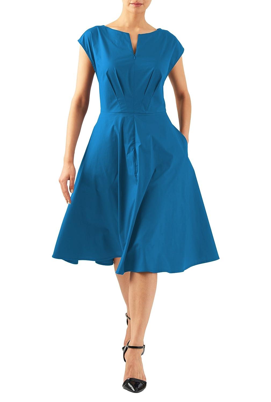 Plus Size Retro Dresses  Split neck stretch poplin dress $54.95 AT vintagedancer.com