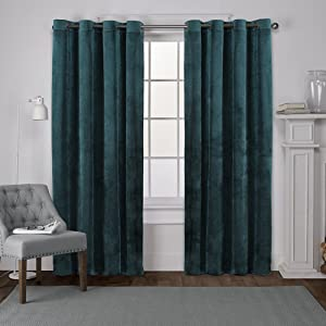Exclusive Home Curtains Velvet Heavyweight Grommet Top Curtain Panel Pair, 54x84, Teal, 2 Piece