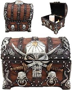 Ebros Caribbean Pirate Haunted Skull With Crossed Dagger Blades Small Treasure Chest Box Jewelry Box Figurine 5