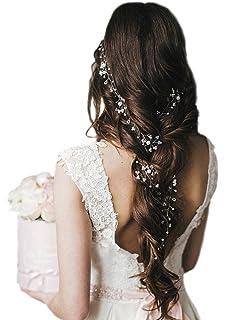 Jovono Diademas de pelo largo Vine novia novia novia pelo joyas accesorios boda diadema para novia