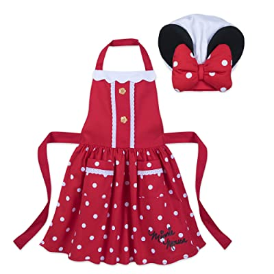 Disney Minnie Mouse Signature Apron and Chef's Hat Set for Kids - Red: Clothing