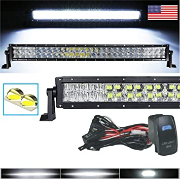 """NEW DUAL ROW LED LIGHT BAR OFFROAD ARSENAL 8/"""" AMBER COLORED LENS COVER CREE"""