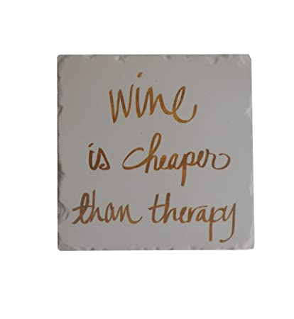 Wine is Cheaper Than Therapy, Set of 4 Tumbled Tile Coasters by Counter Art