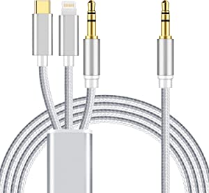 3 in 1 Car Aux Cable, Mxcudu 3 in 1 Headset Audio Cord Car Stereo Aux Cable Compatible with Google Pixel 4/3XL, OnePlus 7Pro/6T, Samsung Galaxy Note 10/S20/S9, iPhone Xs/XR/8 Plus/7 and More (Silver)