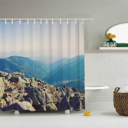 Amazon Black And White Mountain Rock Shower Curtain Home Kitchen