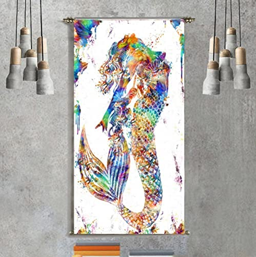 Mermaid Decor Mandala Bohemian Hippie Tapestry Wall Hanging Wall Art Print  Poster Abstract Painting