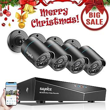 SANNCE Kit de Seguridad Sistema de 8CH 1080N DVR 5-en-1 y 4