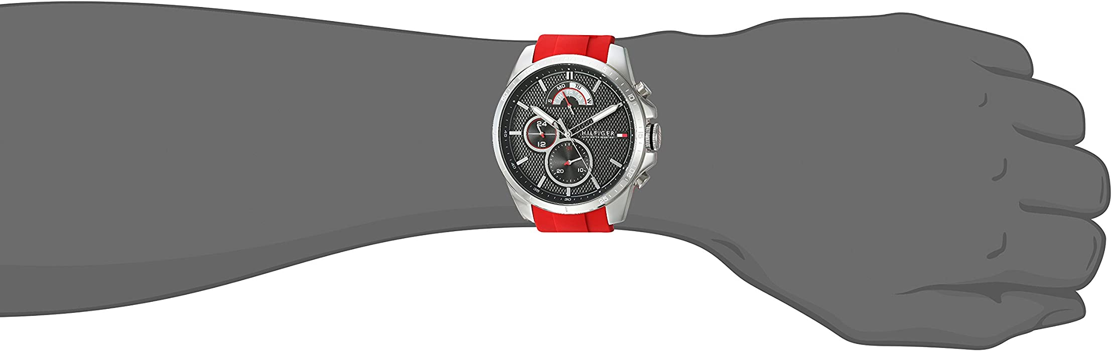 Tommy Hilfiger Men Cool Sport Stainless Steel Quartz Watch with Silicone Strap red 22 Model 1791351