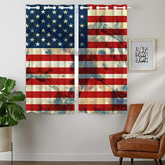 YISUMEI Curtains 42 x 63 Inch Top Grommet Drapes 2 Panels Window Coverings Blackout Darkening American Flag Horse