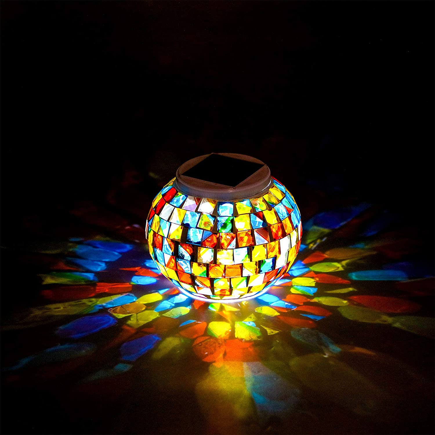 Color Changing Solar Powered Glass Mosaic Ball Garden LED Lights, Waterproof Rechargeable Solar Table Lights for Garden, Patio, Party, Yard, Outdoor/Indoor Decorations Presents (Colorful Style)