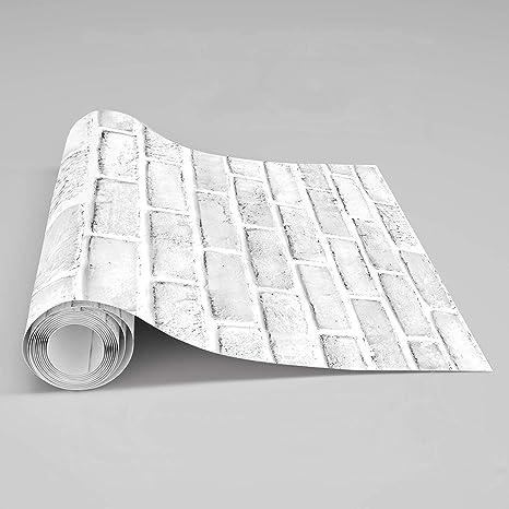 Brick Wallpaper Removable Self Adhesive White Grey Contact Paper For Home Decor 17 7 X 78 7 White Grey Amazon Ca Home Kitchen
