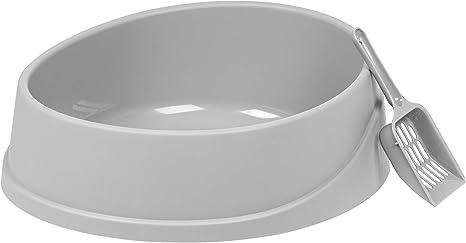 585906 IRIS USA IRIS Open Top Oval Cat Litter Pan with Litter Scoop Gray