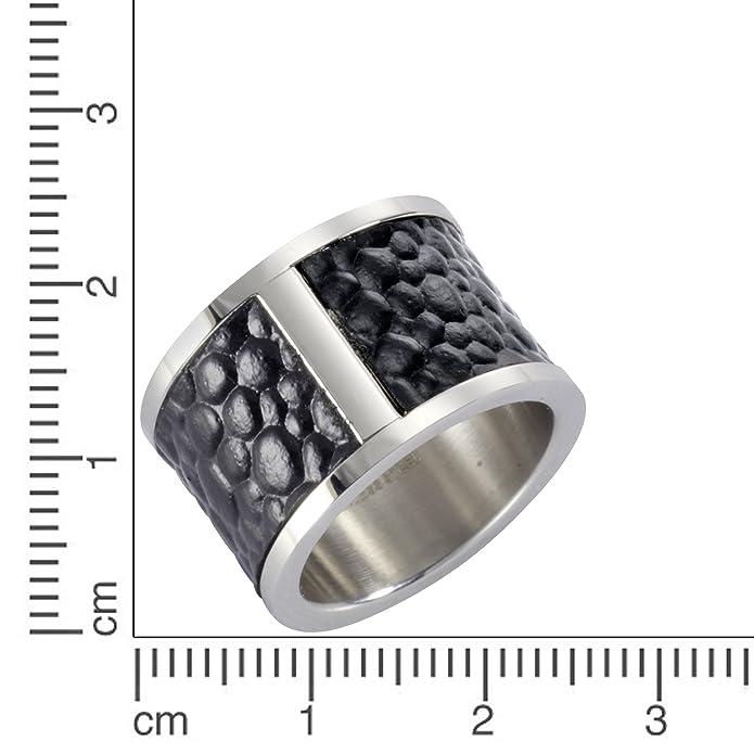 Zeeme Stainless Steel Ring Edelstahl Leder schwarz Unisex Mattiert NEU