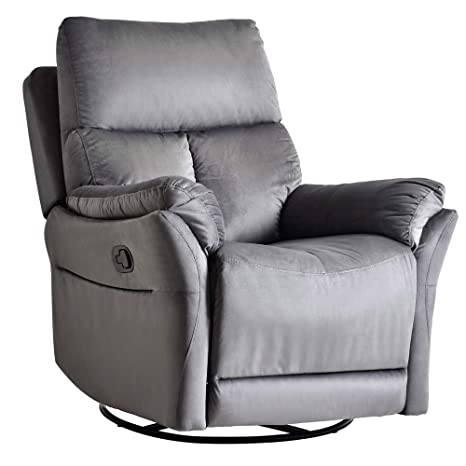 Rocker Recliner Chair, Soft Fabric Swivel Glider Recliner Seat, Over-Stuffed Manual Recliner Sofa for Living Room, Home Theater Seating, Ergonomic ...