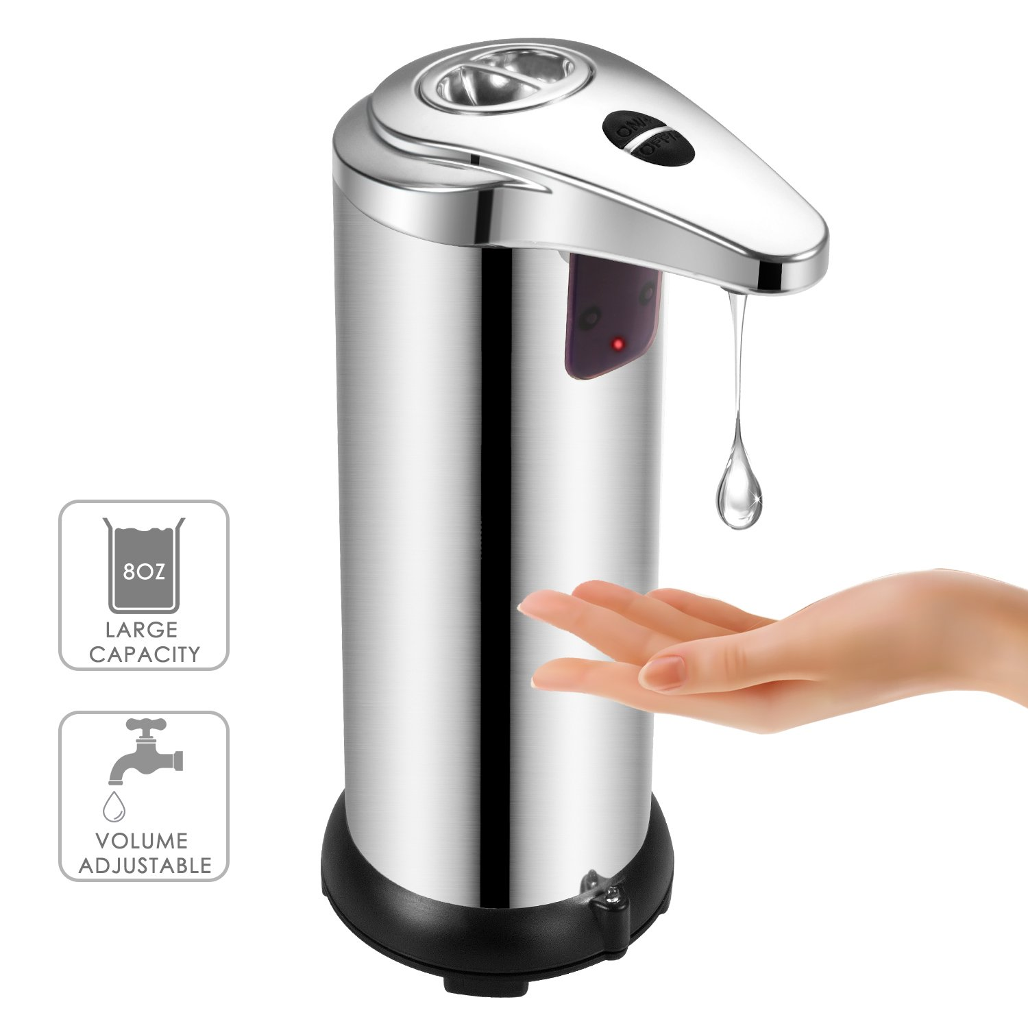 Soap Dispenser, BAFULAN Automatic Hand 280ml Sensor Soap Dispenser, Stainless Steel Hands-Free with Infrared Sensor Liquid Soap Dispenser, Waterproof Designed for Bathroom Kitchen Powered by 4 PCS AAA
