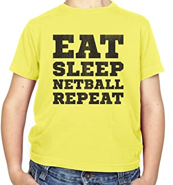 Childrens T-Shirt Ages 3-14 Years Eat Sleep Netball Kids 8 Colours XS-XL